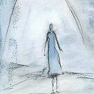 Blue girl walking by nicola j f hallett