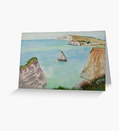 Freshwater Bay IOW, by John Rees Greeting Card