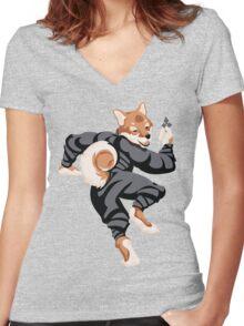 Shiba Inu Ninja Women's Fitted V-Neck T-Shirt