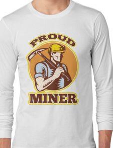 coal miner pick axe shovel retro Long Sleeve T-Shirt