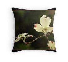 White Dogwood Blossoms Reaching  Throw Pillow