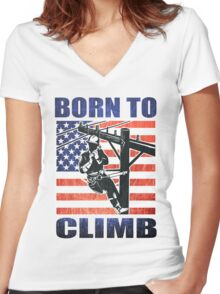 american power lineman electrician repairman pole retro Women's Fitted V-Neck T-Shirt