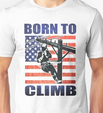 american power lineman electrician repairman pole retro Unisex T-Shirt