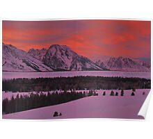 Grand Teton Winter Dusk Poster