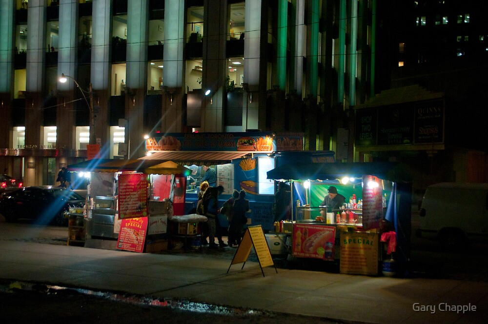 Two Hot Dog Stands And A Burger & Fries Stand in Front of City Hall by Gary Chapple