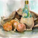 Onions, plonk and old potato sack... by Karin Zeller