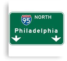 Philadelphia, PA Road Sign, USA Canvas Print