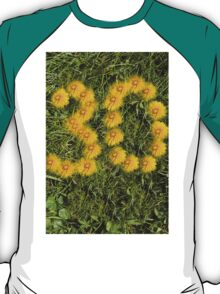 number thirty drawn with dandelion on the lawn T-Shirt
