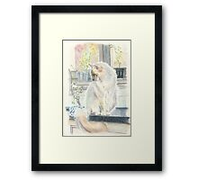 There's a cat in the kitchen Framed Print