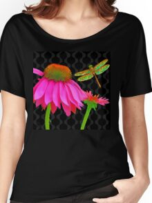 Flower Pop, floral Pop Art Echinacea, dragonfly Women's Relaxed Fit T-Shirt