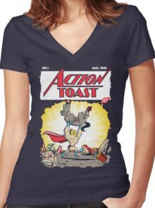 Action Toast Women's Fitted V-Neck T-Shirt