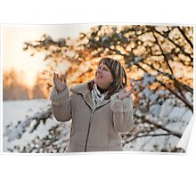 Woman on winters sunset Poster