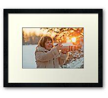 Photographer on sunset Framed Print
