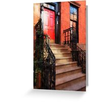 Greenwich Village Brownstone with Red Door Greeting Card