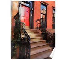 Greenwich Village Brownstone with Red Door Poster