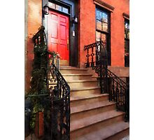 Greenwich Village Brownstone with Red Door Photographic Print