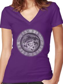 Zombie U Alumni B&W Weathered Shirt Women's Fitted V-Neck T-Shirt