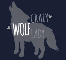Crazy WOLF lady Kids Tee