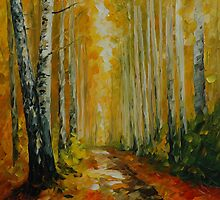 FALL BIRCHES - LEONID AFREMOV by Leonid  Afremov