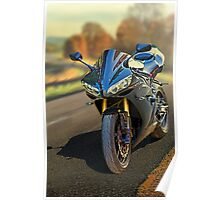 Sport motorcycle in Fall Poster