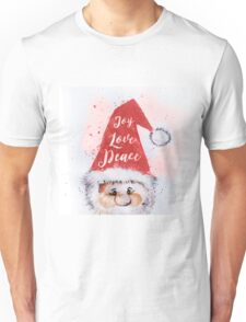 "Christmas watercolor Santa Claus ""Joy Love Peace"" words Unisex T-Shirt"