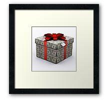 USD Present Box with Red Ribbon Framed Print