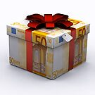 EURO Present Box with Red Ribbon by Bruno Beach
