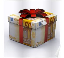 EURO Present Box with Red Ribbon Poster