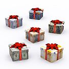 Currencies Present Box with Red Ribbon by Bruno Beach