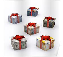 Currencies Present Box with Red Ribbon Poster
