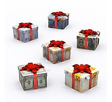 Currencies Present Box with Red Ribbon Photographic Print