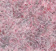 Red and white zentangles by savousepate