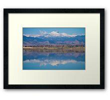 Colorado Longs Peak Circling Clouds Reflection Framed Print