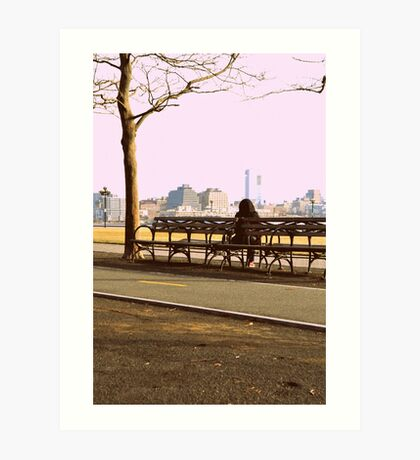 the bench of somber thoughts Art Print
