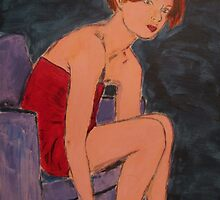 Woman in Little Red Dress in Chair by Ashley Huston