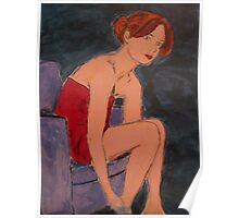 Woman in Little Red Dress in Chair Poster