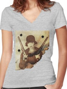 Louise Brooks  and her guns Women's Fitted V-Neck T-Shirt