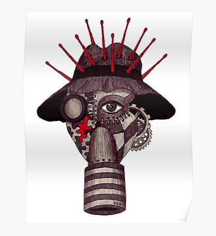 Man in gas mask surreal black and white ink pen drawing Poster