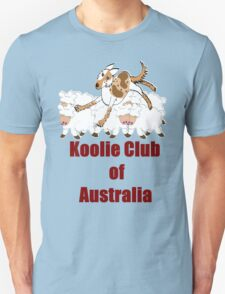 Koolie backing sheep over Koolie Club of Australia T-Shirt
