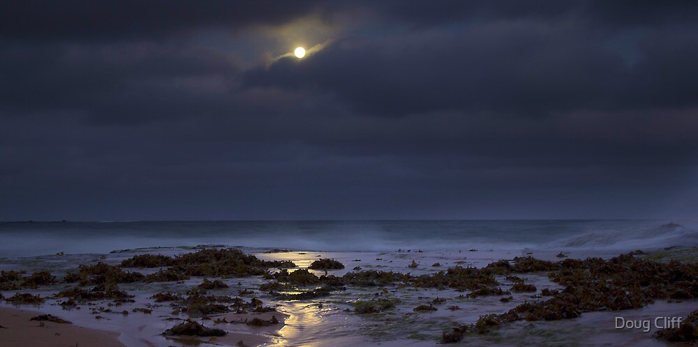 Moon over beach by Doug Cliff