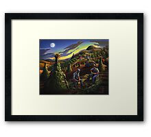 Fall Farmers Shucking Corn Sunset Rural Farm Landscape Framed Print