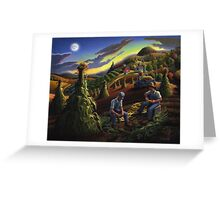 Fall Farmers Shucking Corn Sunset Rural Farm Landscape Greeting Card