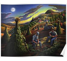 Fall Farmers Shucking Corn Sunset Rural Farm Landscape Poster