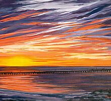 The jetty at sunset by Elizabeth Moore Golding