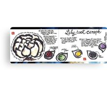 Illustrated Recipe: Lily Root Canape Canvas Print