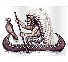 Indian with eagle on the canoe black and white pen ink drawing Poster