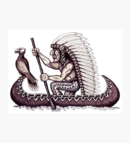 Indian with eagle on the canoe black and white pen ink drawing Photographic Print