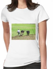 Using Oxen to Plow a Field Womens Fitted T-Shirt
