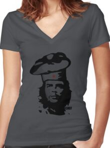 Chef Guevara Women's Fitted V-Neck T-Shirt