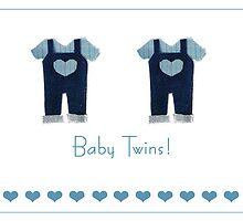Baby boy twins card by Gillian Cross